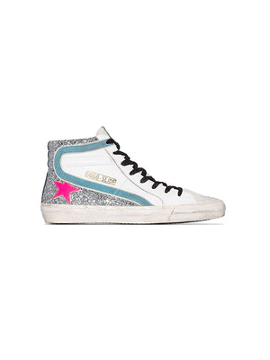 Sneakers Slide in Silver Glitter/Fuxia Star