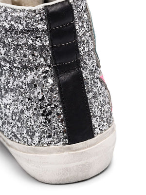 Golden Goose Sneakers Slide in Silver Glitter/Fuxia Star G36WS595.A76