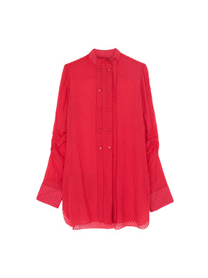FIL COUPE SILK BLOUSE IN GERANIUM