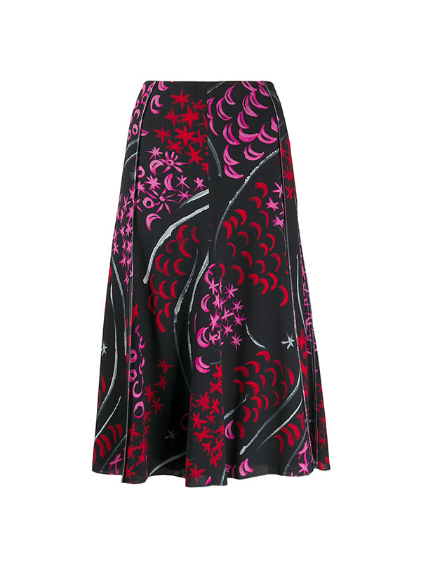 Marni Abstract Skirt in red, Pink and Black