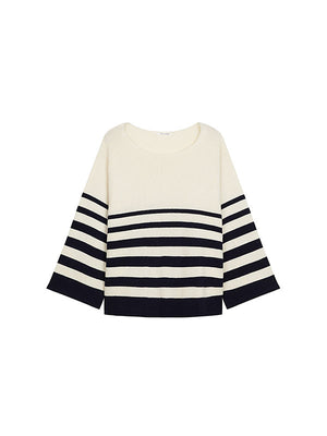 GRADUATED STRIPE SWEATER IN CREAM