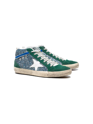 GREEN GLITTER-WHITE MID STAR SNEAKERS