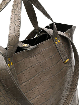 Jerome Dreyfuss Georges Large in Gris Croco Lambskin