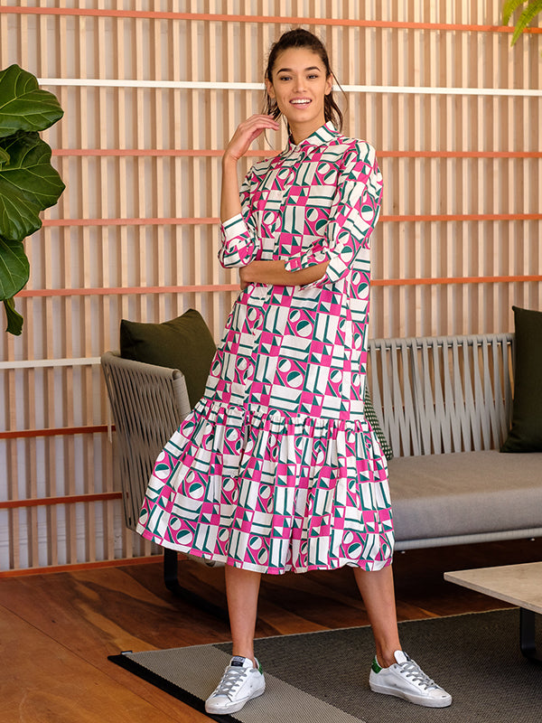 Getting My Croissont Dress in Geometrico Rosa in Cotton