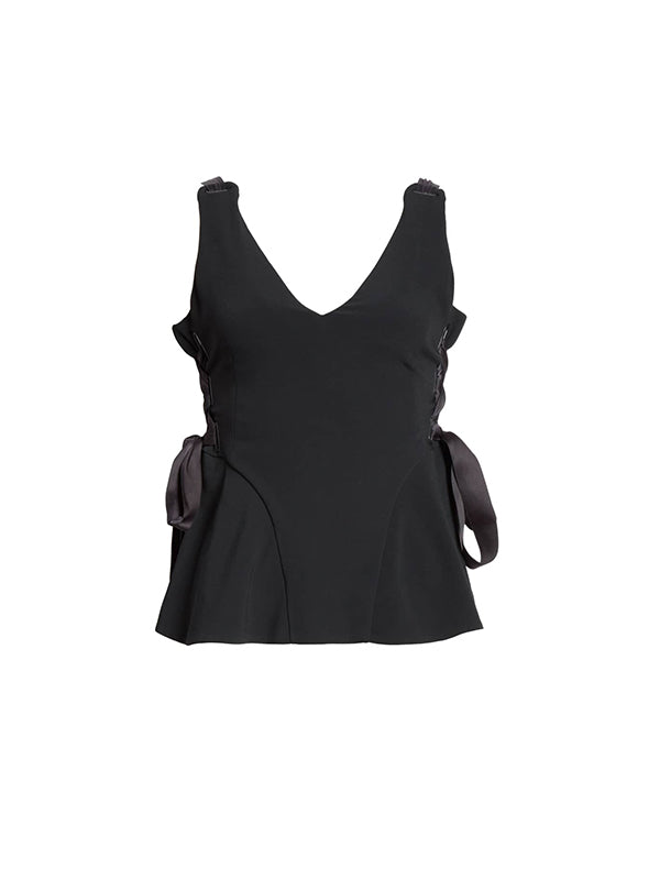 Grommet Crepe Lace-Up Top In Black