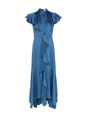 Hammered Satin Midi Ruffle Dress in Blue