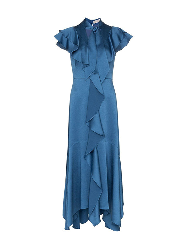 Peter Pilotto Hammered Satin Midi Ruffle Dress in Blue