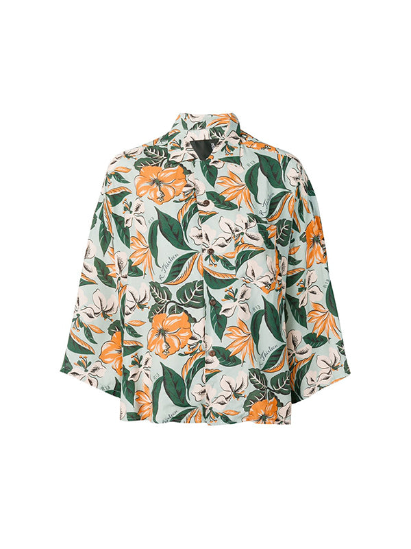 Hawiian Shirt in Blue Floral