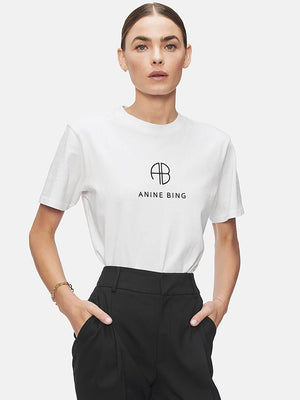 Anine Bing Hudson Tee Monogram in Optic White