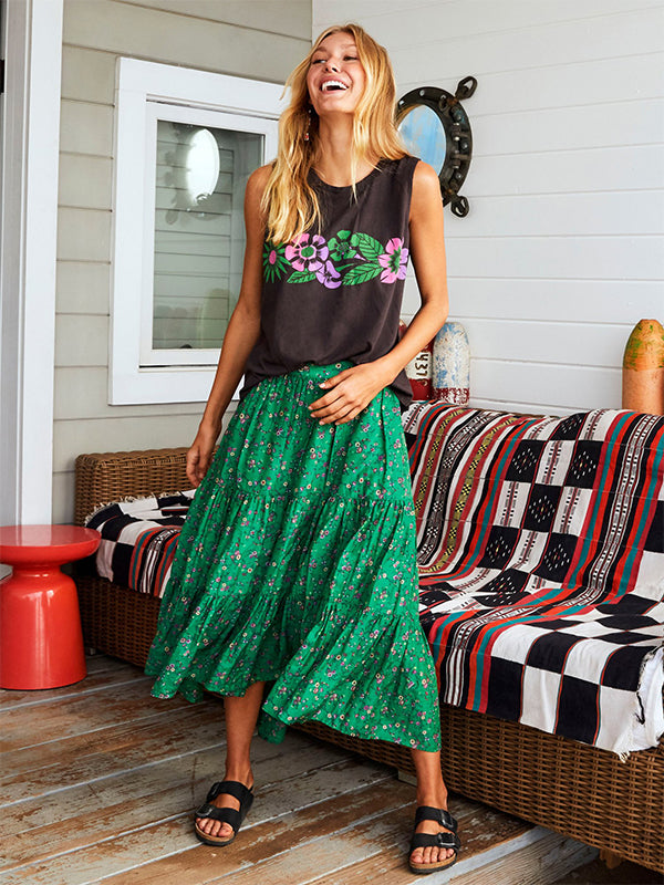 Iris Skirt in Green Grass