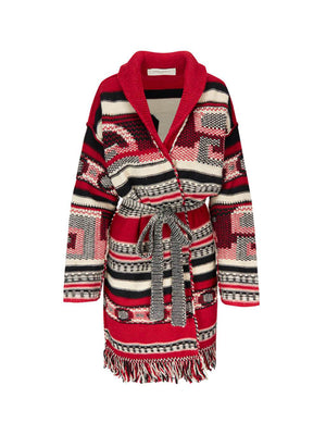 Jacquard Azul Cardigan in Red