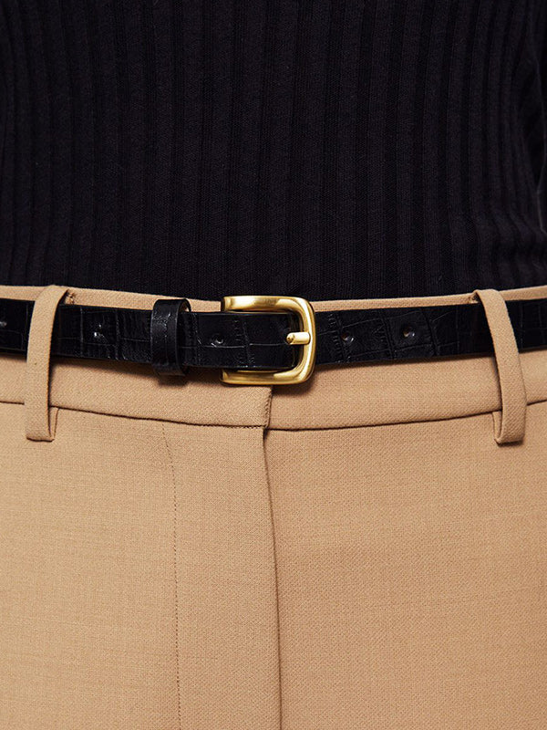 Anine Bing Jane Belt in Black Croc