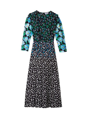 Jazz Dress in Multi Bloom Black Blue