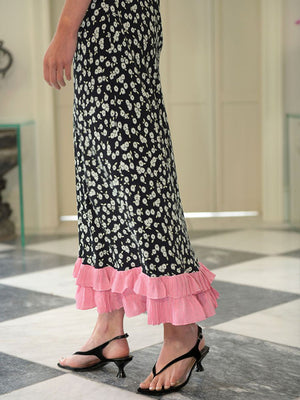 Rixo Jessie Dress in Mono Daisy Black Pink Mix