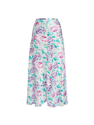 Kelly Skirt In Italian Floral Pink Teal