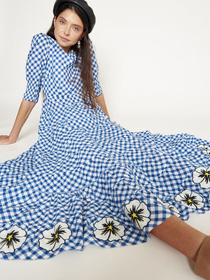 Rixo London Kristen Dress in Big Gingham Navy