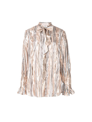 Lurex Striped Chiffon Blouse In Silver