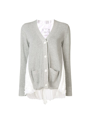 Lace x Shirting Cardigan In Light Grey