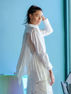 Lace x Tulle Shirt In White