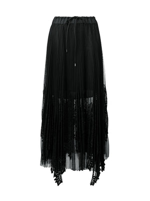 Lace x Tulle Skirt In Black