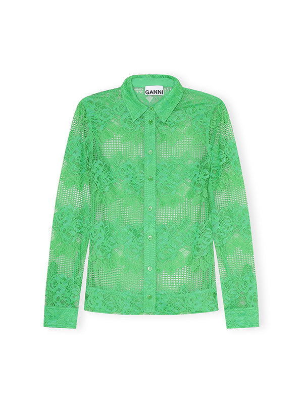 Ganni Lace Shirt in Kelly Green