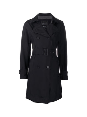 Laminar Double-breasted Trench in Black
