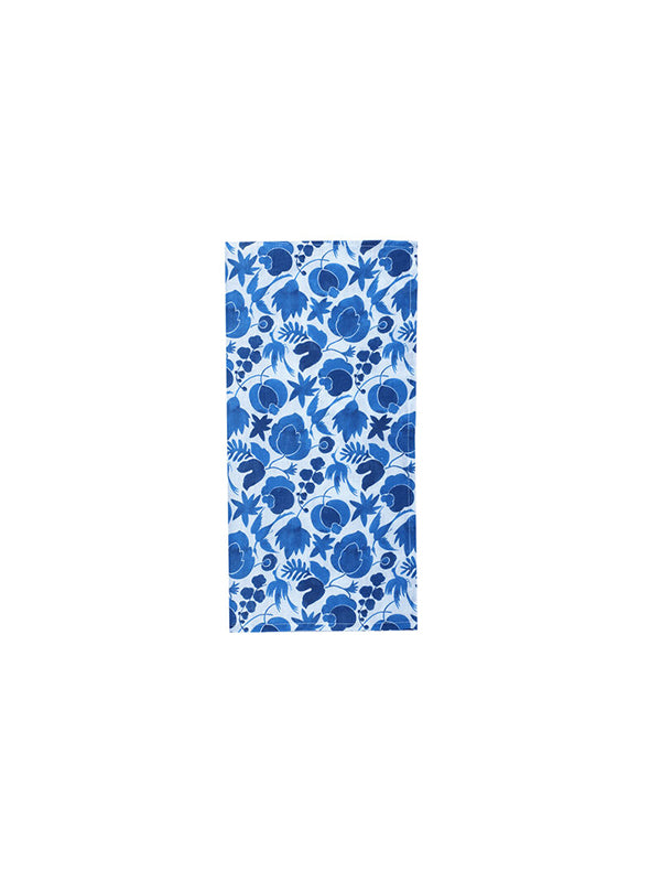 La DoubleJ Homewares Large Napkins Set of 6 (45x45) in Wildbird Blue Small