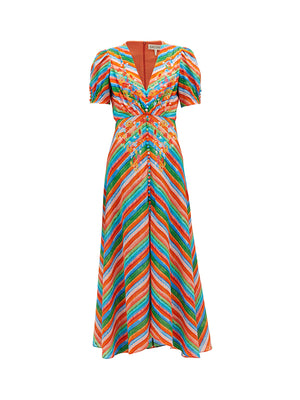 Lea Long Dress in Watercolour Stripe