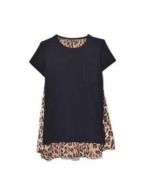 Leopard Gathered T-Shirt