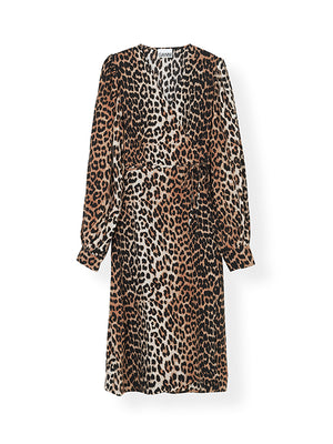 Silk Wrap Dress In Leopard