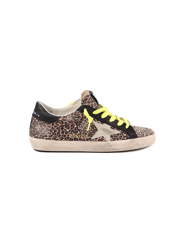 Golden Goose Sneakers Superstar in Leopard/Black Heel