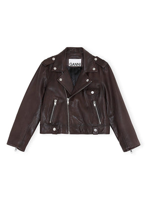 Leather Biker Jacket in Chicory Coffee