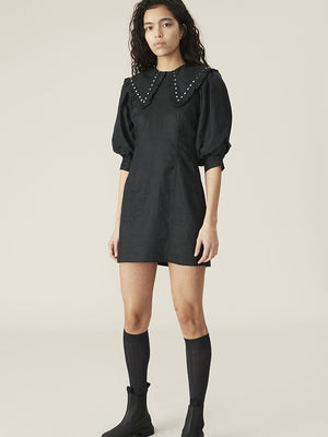 Ganni Linen Mini Dress in Phantom
