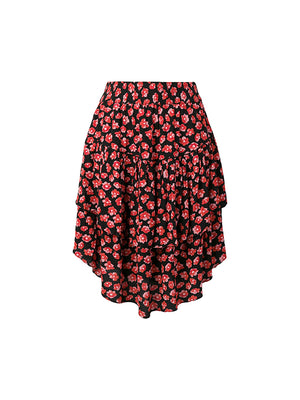 Lindale Crepe Skirt in Fiery Red