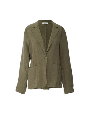 Linen Boyfriend Jacket in Kahki