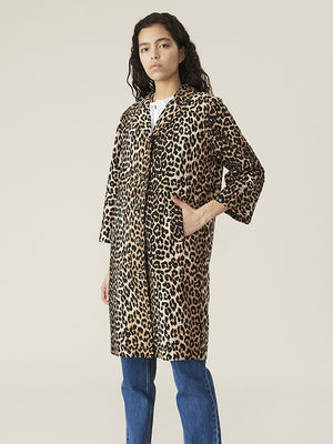 Ganni Linen Canvas Coat in Leopard