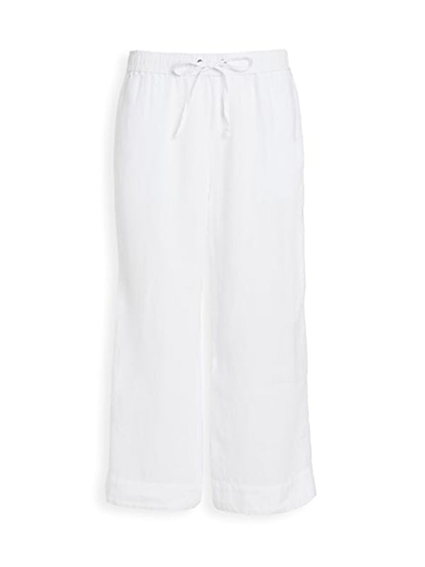 James Perse Linen Cropped Pant in White