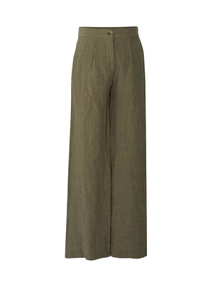 Linen Wide Leg Trouser in Kahki
