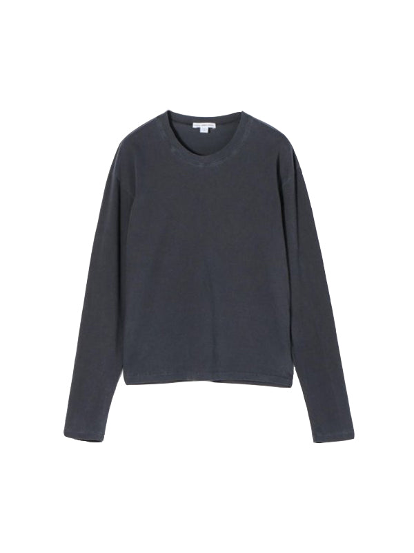 James Perse L/S Vintage Wash Tee in Black Pigment