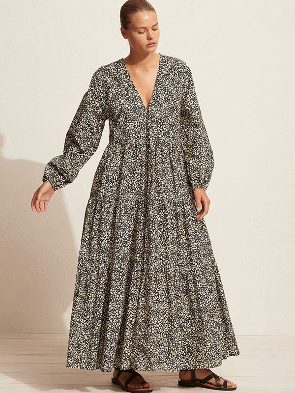 Matteau Long Sleeved Button Dress in Golden Primrose