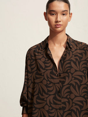 Matteau Long Sleeve Silk Shirt in Palmas