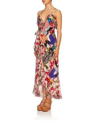 LONG WRAP DRESS W/FRILL IN POSTCARDS FROM MARS