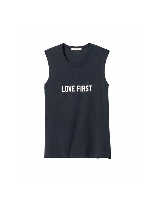 Love First Muscle Tee in Black