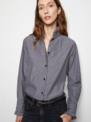 Nili Lotan Lydia Shirt in Bold Black Stripe