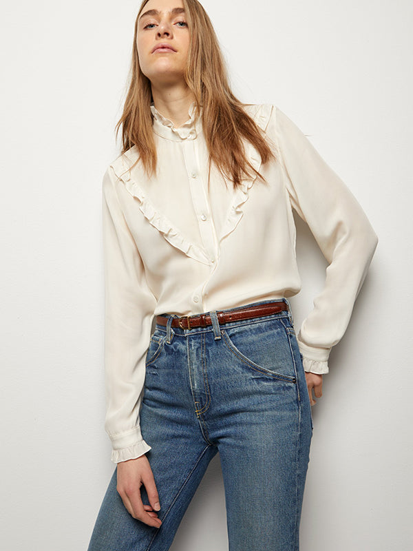 Nili Lotan Marcela Shirt in Ivory