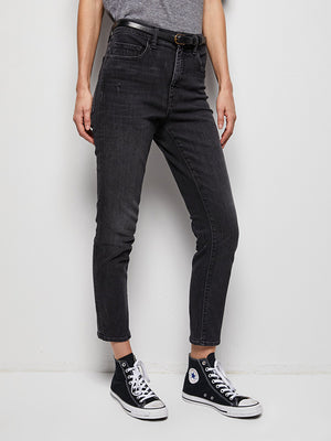 Nili Lotan Mid Rise Jean Distressed Black with Finished Hem
