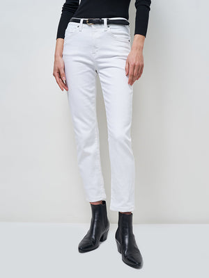 Nili Lotan Mid Rise Jean in White Wash