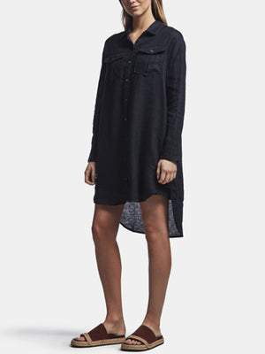 James Perse Military Linen Shirt Dress in French Navy