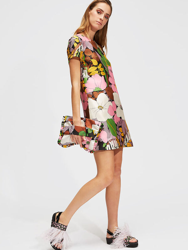 La DoubleJ Mini Swing Dress in Big Flower