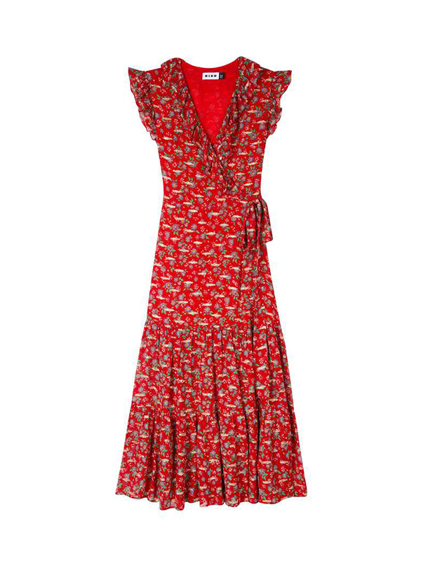 Rixo Minnie Dress in Garden Party Red